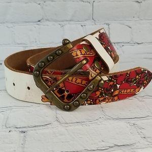 Ed Hardy leather belt sculls hearts  sz M